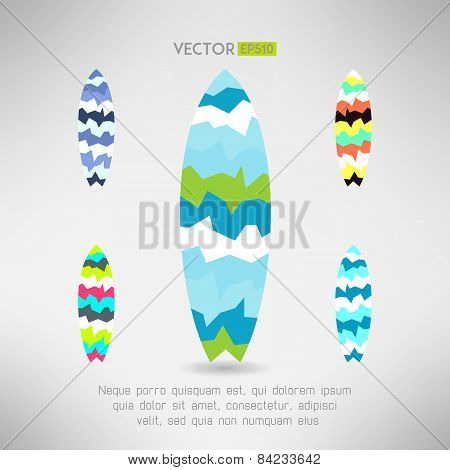 Geometrical surfboard designs set. Surfing board icon. Vector illustration