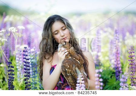 Beautiful Young Girl With Owl