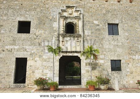 Exterior of the typical colonial building in Santo Domingo, Dominican Republic.