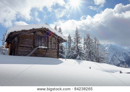Ski cabin in the snowy mountains of Austria
