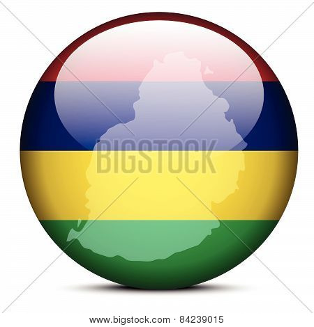 Map On Flag Button Of Mauritius