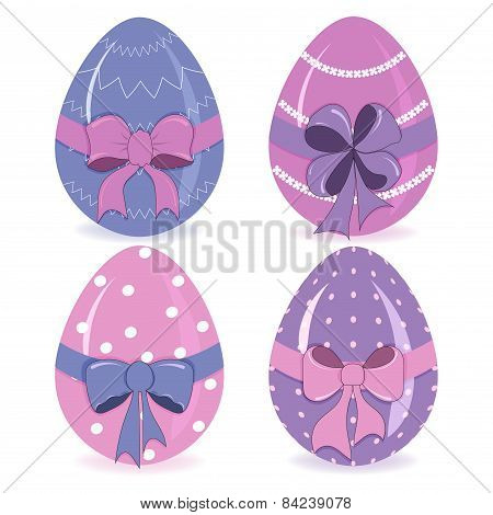 Hand-drawing Cute Easter Eggs With A Bow Vector