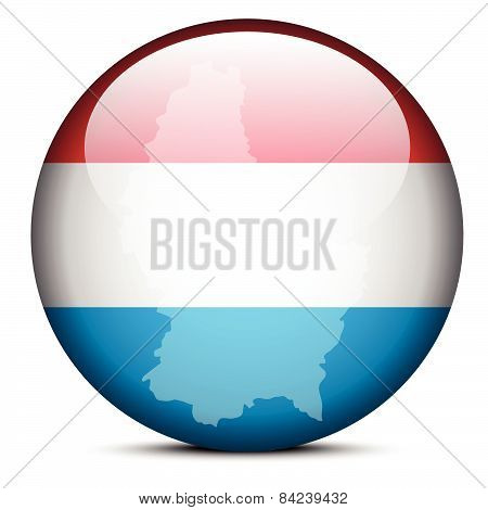 Map On Flag Button Of  Luxembourg