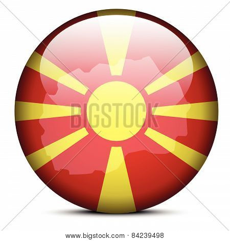 Map On Flag Button Of  Macedonia