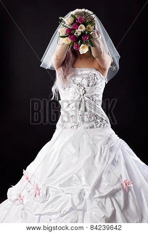 bride in beautiful wedding dress