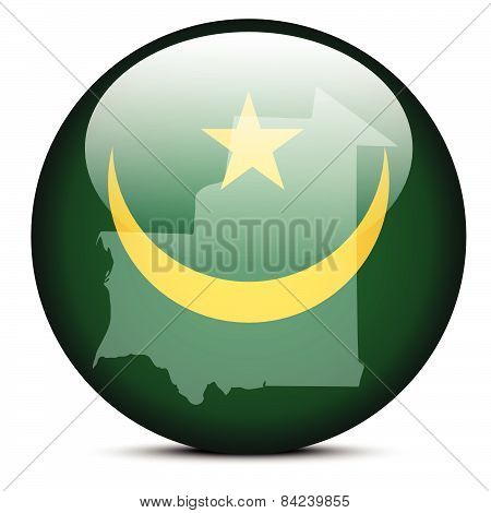 Map On Flag Button Of  Mauritania