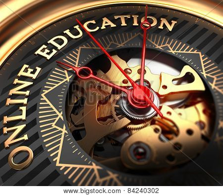 Online Education on Black-Golden Watch Face.