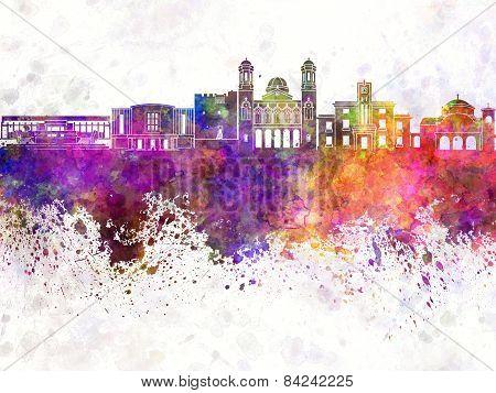 Limassol Skyline In Watercolor Background