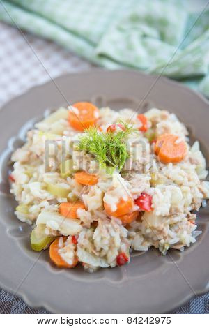 Risotto with carrots, red pepper and fennel