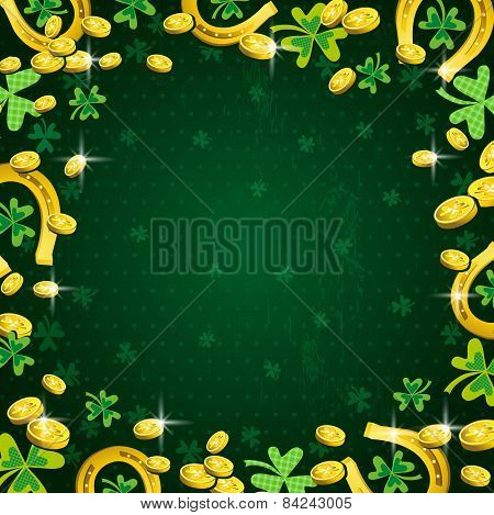Background For Patricks Day With Clover And Golden Coins