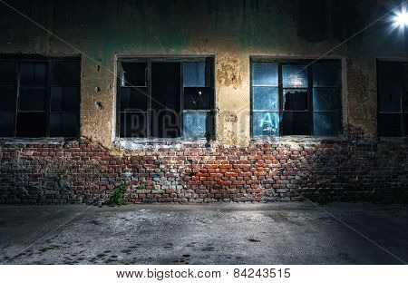 Old Cracked Or Grungy Wall And Windows At Background, Night Shot