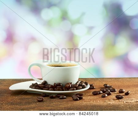 Cup Of Coffee On Blur Background