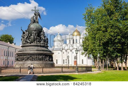 Monument For Millennium Of Russia And St. Sophia Cathedral In The Novgorod Kremlin, Russia