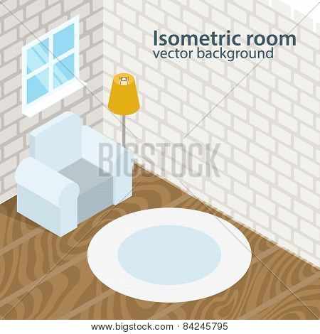 Isometric room vector background