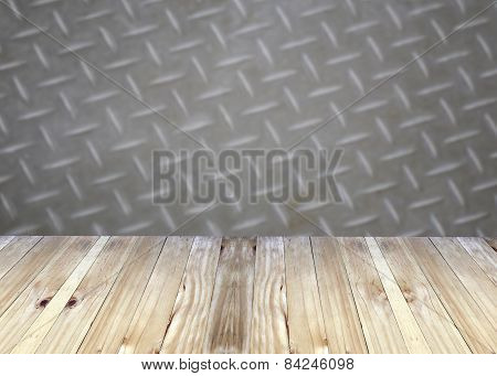 Broad Planks And Metal Blur Background.