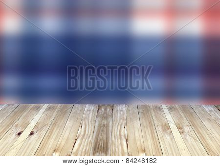 Broad Planks And Bright Blue Blur Background.