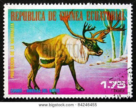 Postage Stamp Equatorial Guinea 1977 Caribou, Rangifer Tarandus,