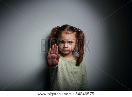 Kid Girl Showing Hand Signaling To Stop Useful To Campaign Against Violence And Pain