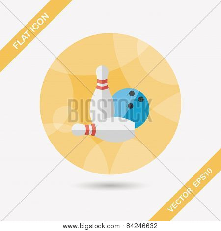 Bowling Game Flat Icon With Long Shadow,eps10