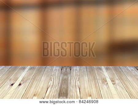 Broad Planks And Brown Blur Background.