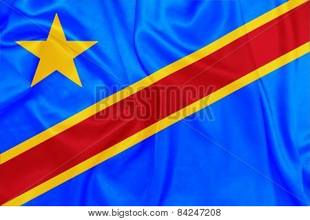 Democratic republic of The Congo - Waving national flag on silk texture