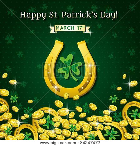 Background For St Patricks Day With Horseshoe And Golden Coins