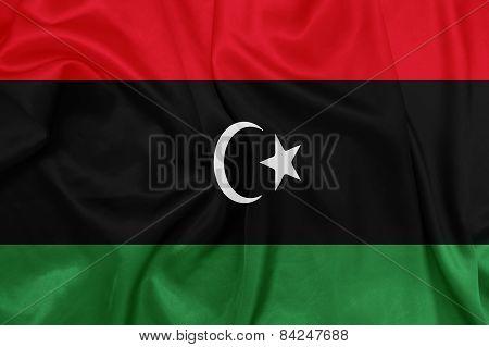 Libya - Waving national flag on silk texture