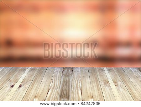 Broad Planks And Red Blur Background.