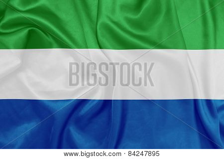 Sierra Leone - Waving national flag on silk texture