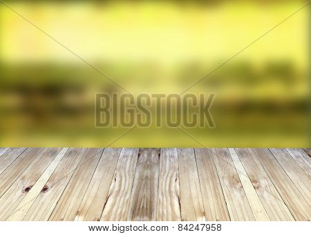 Broad Planks And Yellow Blur Background.