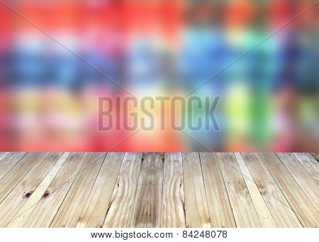 Broad Planks And Bright Colorful Blur Background.