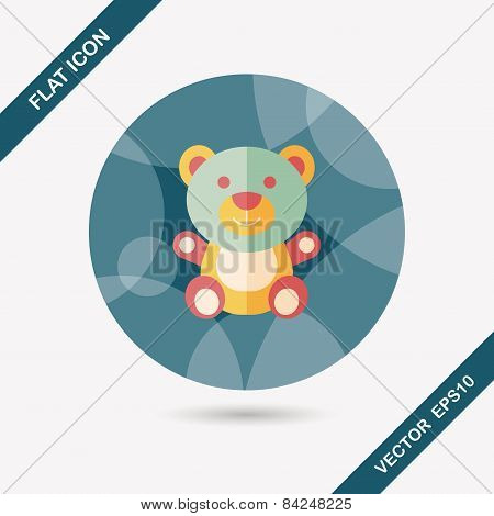 Teddy Bear Flat Icon With Long Shadow,eps 10