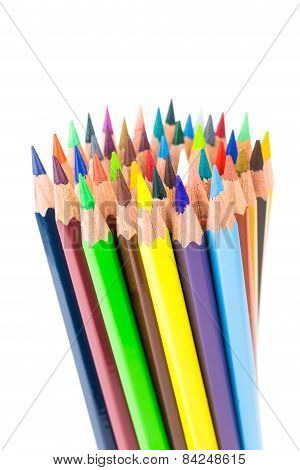 Various colored crayons standing upright