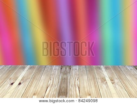 Broad Planks And Color Rainbow Bright Of Blur Background.