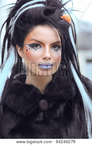 Beauty Fashion Punk Teen Girl Portrait With Art Makeup And Rock Hairstyle. Outdoor