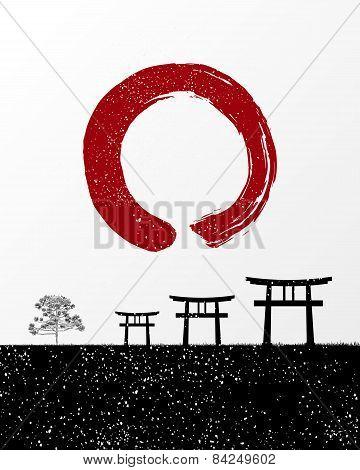 Zen Circle And Japan Landscape Illustration
