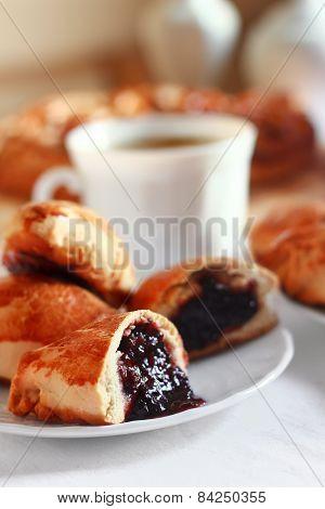 Freshly baked pie with jam. Bakery