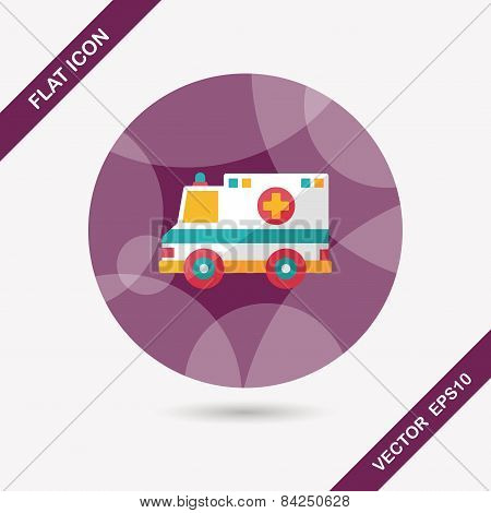 Transportation Ambulance Flat Icon With Long Shadow,eps10