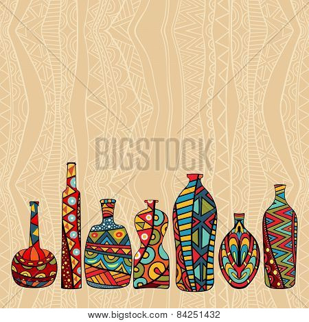 Ethnic Background With Fancy Bottles