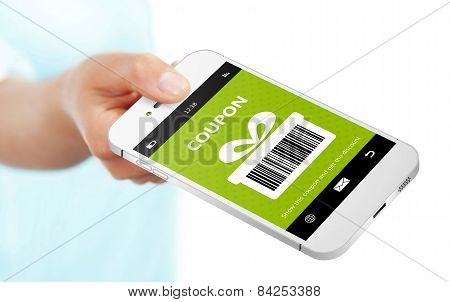 Hand Holding Mobile Phone With Spring Discount Coupon Over White