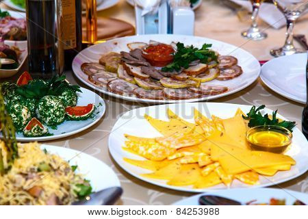 Meats And Cheeses On Banquet Table