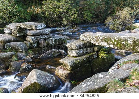 Medieval Stone Clapper Bridge, Dartmoor England.