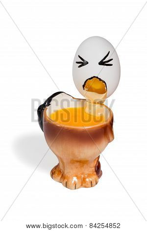 Pukes Comical Egg In A Cup