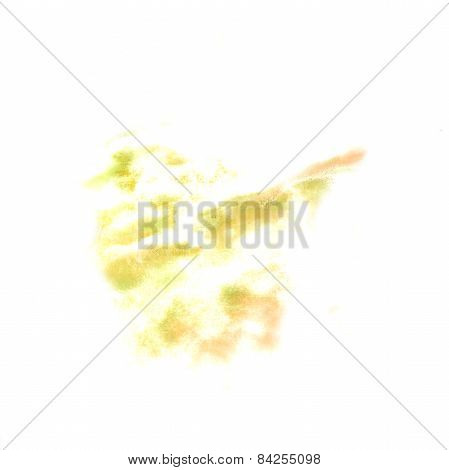 stain with watercolour yellow paint stroke watercolor isolated