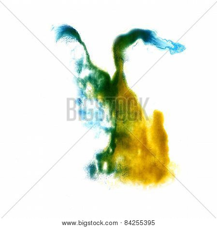 stain with yellow, green watercolour paint stroke watercolor  is