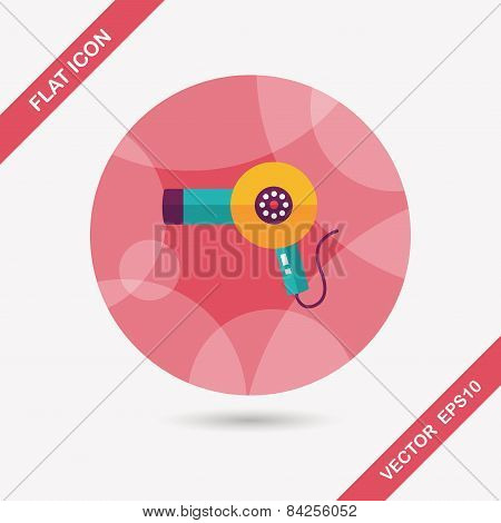 Hair Dryer Flat Icon With Long Shadow,eps10