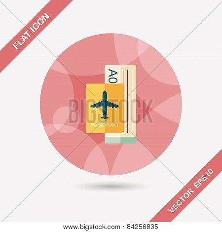 Air Ticket Flat Icon With Long Shadow,eps10