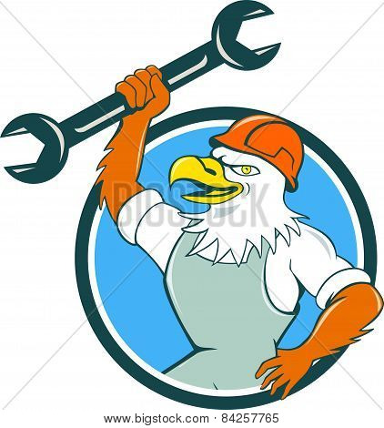 American Bald Eagle Mechanic Spanner Circle Cartoon