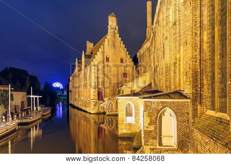 Night view Hospital of St. John, Bruges, Belgium.