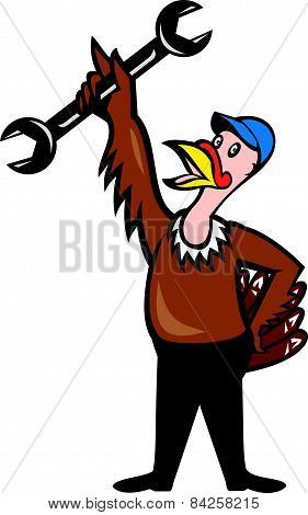 Turkey Mechanic Standing Spanner Cartoon